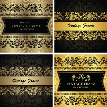 Vector set of vintage cards  Seamless background with decorative borders  Retro design  Original style           Vector