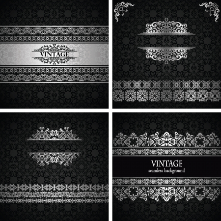 Vector set of frames. Vintage seamless wallpaper with a silver frame. Can be used as invitation or card    Vector
