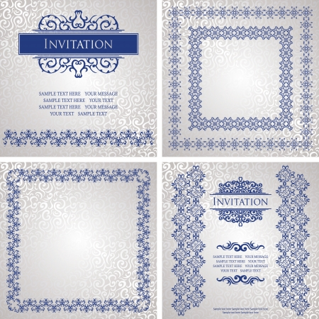 royal blue background: Vector set of vintage cars and frames. Seamless background with a vintage decoration