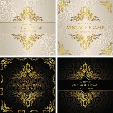 Vector set of vintage backgrounds . Can be used as invitation    Vector