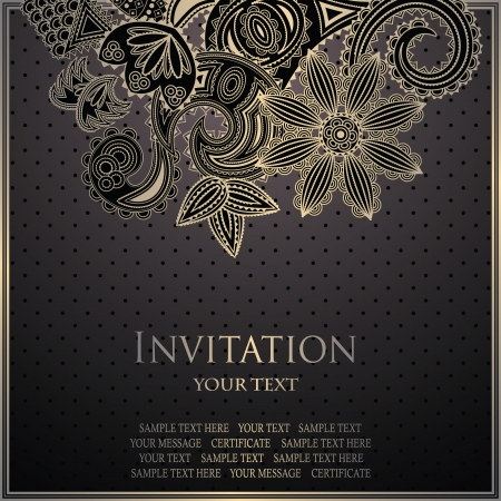 Vintage card with floral decoration. Seamless with polka dots       Vector
