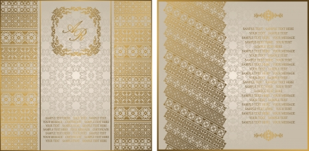 Set of two cards. Seamless background with vintage ornament     Vector