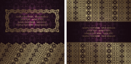 Vector set of two cards. Seamless background with vintage ornament and frame   Vector