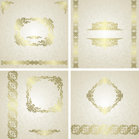 Set of frames. Vintage seamless floral background with frame and ribbon. Can be used as invitation    Vector