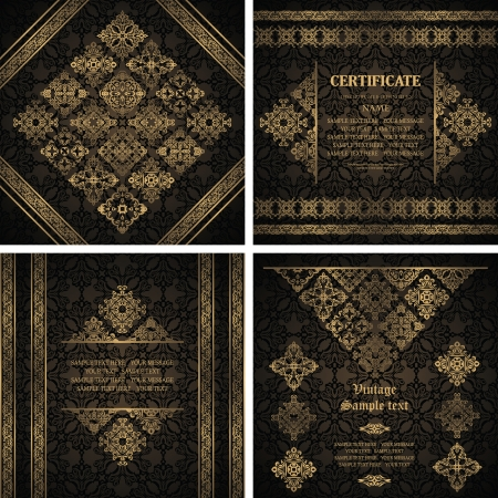 Set of vintage invitations. Original card with a vintage elements and decorative ribbons   Vector