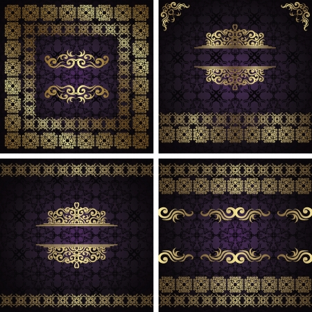 Set of vintage frames. Vintage seamless damask background with a gold decoration               Vector