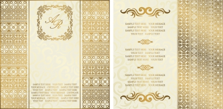Set of two cards. Seamless background with vintage decoration    Vector