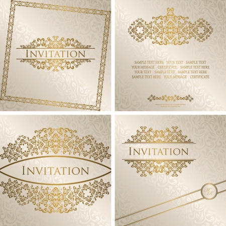 Set of vintage frames. Vintage seamless floral background with frame. Can be used as invitation    Vector