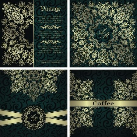 bronze background: Vector set. Beauty invitation with lace pattern on a seamless floral background      Illustration