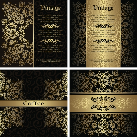 Vector set of luxury cards. Beauty invitation with lace pattern on a seamless floral background      Vector