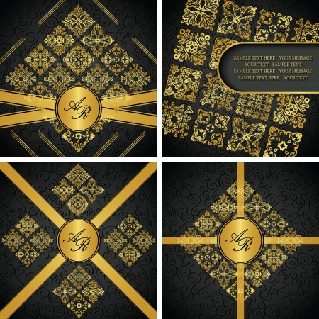 Set of vintage frames and original cards with vintage gold decoration  Seamless wallpaper  Luxury design   Vector