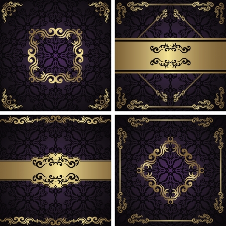 Set of vintage frames  Vintage seamless damask background  Luxury design              Vector