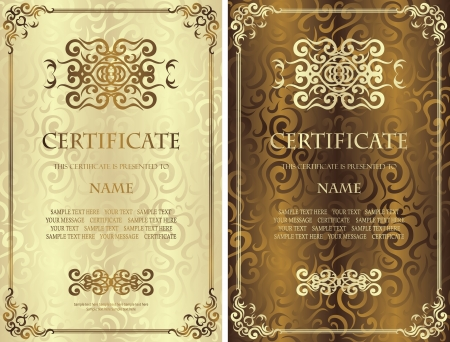 Set of certificates  Vintage frame on a floral background  Can be used as diploma