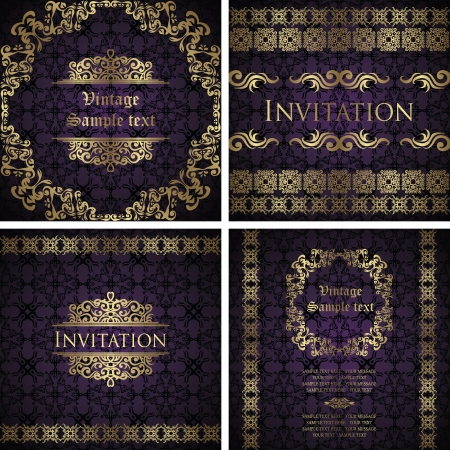 Set of vintage frames  Vintage seamless background  Luxury design     Vector