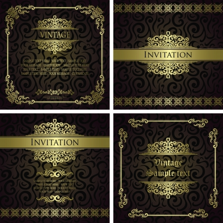Vector set of vintage cards  Seamless floral background  Luxury design    Vector