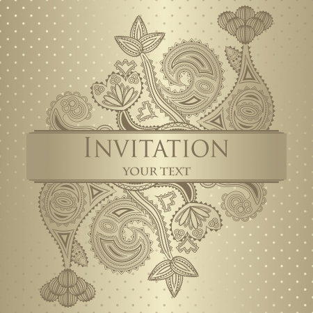 Elegant floral invitation. Seamless background with polka dots.  Vector