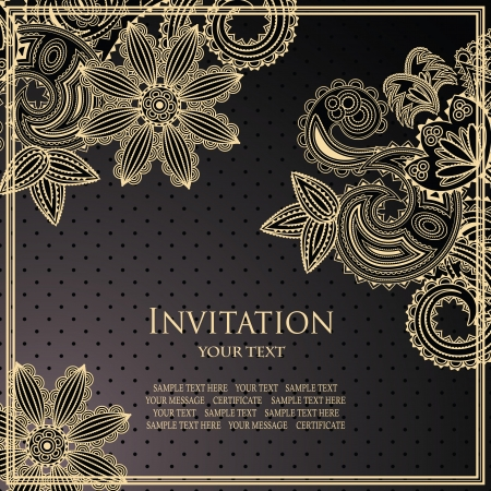 Vintage floral card. Seamless background with polka dots       Vector