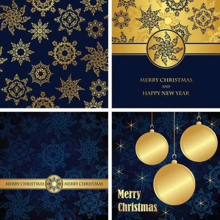 Set of Christmas cards. Vintage seamless background. Winter design   Vector