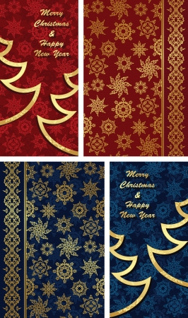 Set of Christmas cards and seamless background. Original design   Vector