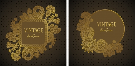Set of floral cards. Elegant floral design. Seamless background with polka dots             Vector