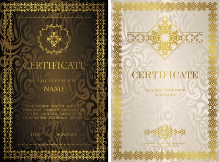Set of certificates. Vintage frame on a seamless floral background. Luxury design        Vector