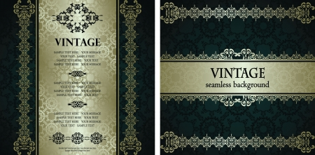 Vector set of two cards. Vintage seamless wallpaper. Luxury design       Vector