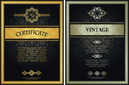 Set of certificates. Vintage frame on a seamless background. Can be used as diploma     Vector