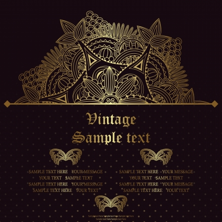 Vintage card with gold floral decoration. Seamless background with polka dots       Vector
