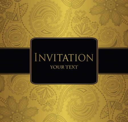 gold design: Floral seamless wallpaper with border. Elegant invitation