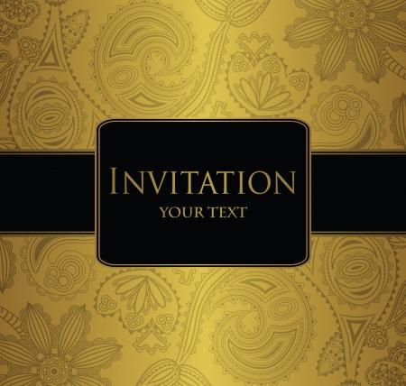 negro: Papel tapiz floral sin fisuras con la frontera. Invitación elegante