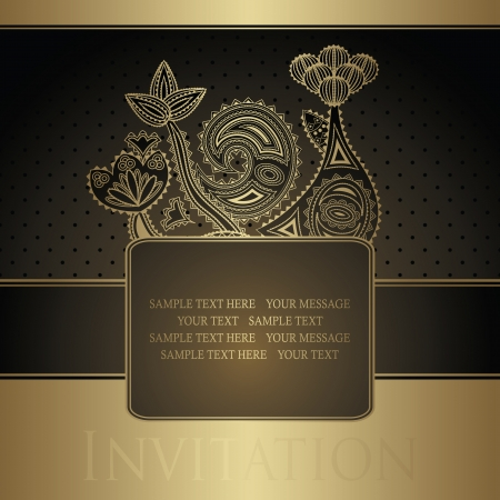 Vintage card with floral decoration. Seamless background with polka dot       Vector