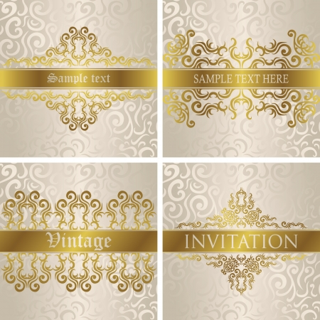 Vector set of cards  Vintage frames  Stylish design     Vector