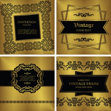 Set of vintage frames  Vintage seamless background  Original design     Vector