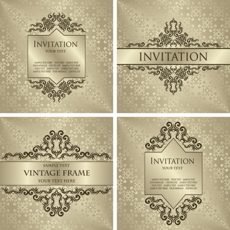 Set of vintage decorative borders and frames  Seamless background  Luxury design   Vector