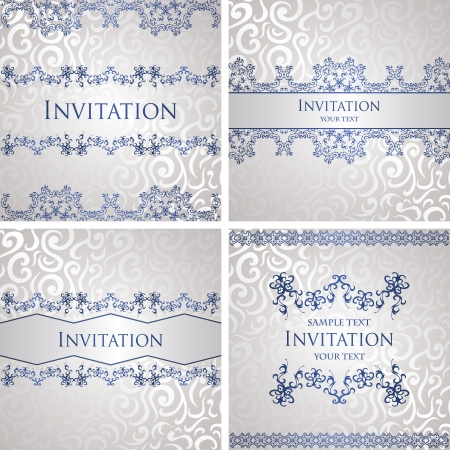 Set of vintage seamless backgrounds with decorative borders  Seamless wallpaper