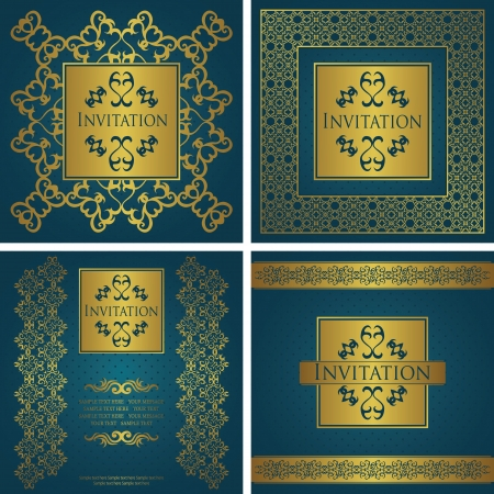 Vector set  Vintage background with a frame  Seamless background with polka dots   Luxury design      Vector
