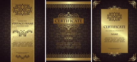 Set of vintage backgrounds with a frames. Luxury design.  Can be used as certificate        Illustration