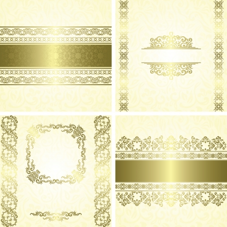 Vector set of frames. Vintage seamless wallpaper in pastel colors. Can be used as invitation or card  Vector