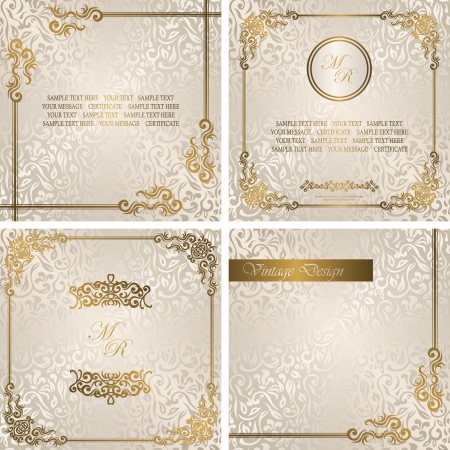 Set of vintage cards. Vintage seamless floral background with frame     Vector