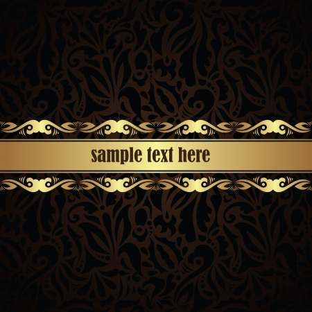 Stylish card with ribbon. Floral seamless background. Can be used as invitation        Vector