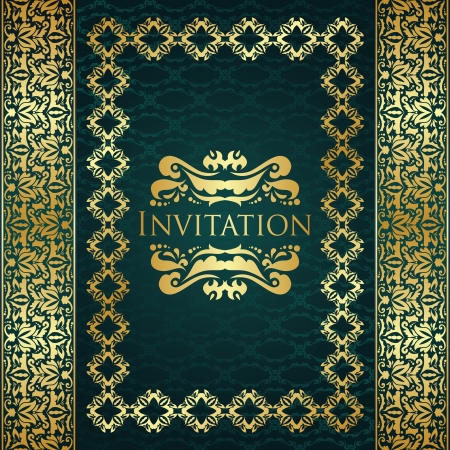 Stylish invitation on seamless background. Vintage decoration in gold    Vector