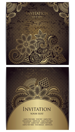 Set of cards. Vintage card with gold floral decoration. Grunge background with polka dots      Vector