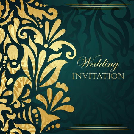 Wedding invitation with gold floral decoration. Seamless floral wallpaper     Vector