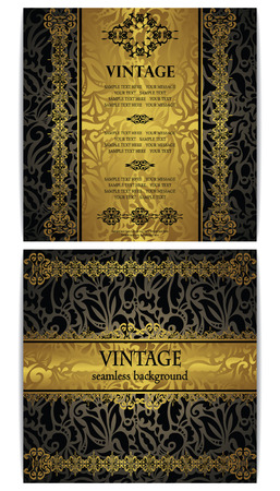 Vector set of two cards. Vintage seamless floral wallpaper. Luxury design       Vector