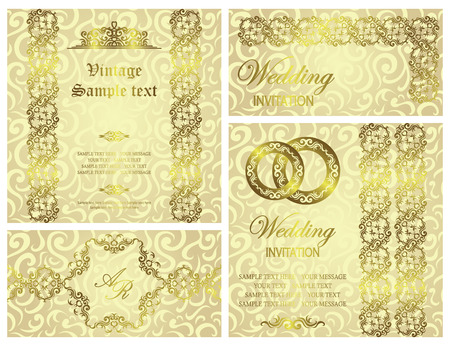 Set of wedding invitations with vintage ribbons and rings Vector