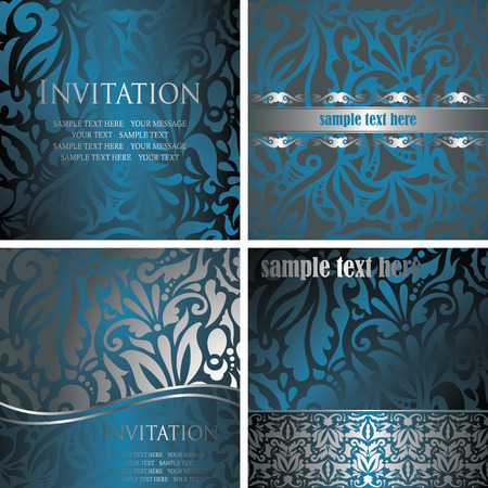 Set of stylish floral cards Vector