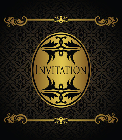 Stylish invitation with a gold frame. Vintage seamless background          Vector
