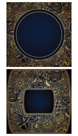 Set of floral cards. Floral frame. Can be used as invitation      Vector