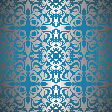 Seamless wallpaper in silver on a blue background Vector