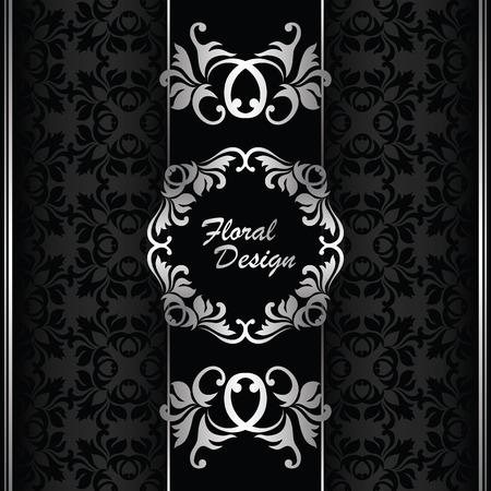 Elegant invitation. Floral design. Seamless background in black Stock Vector - 28246675